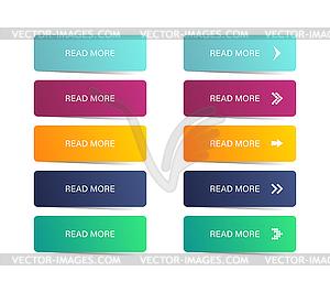 Read more button. Colorful button set. Symbol read.