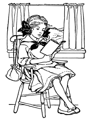 Girl With Book Clipart.