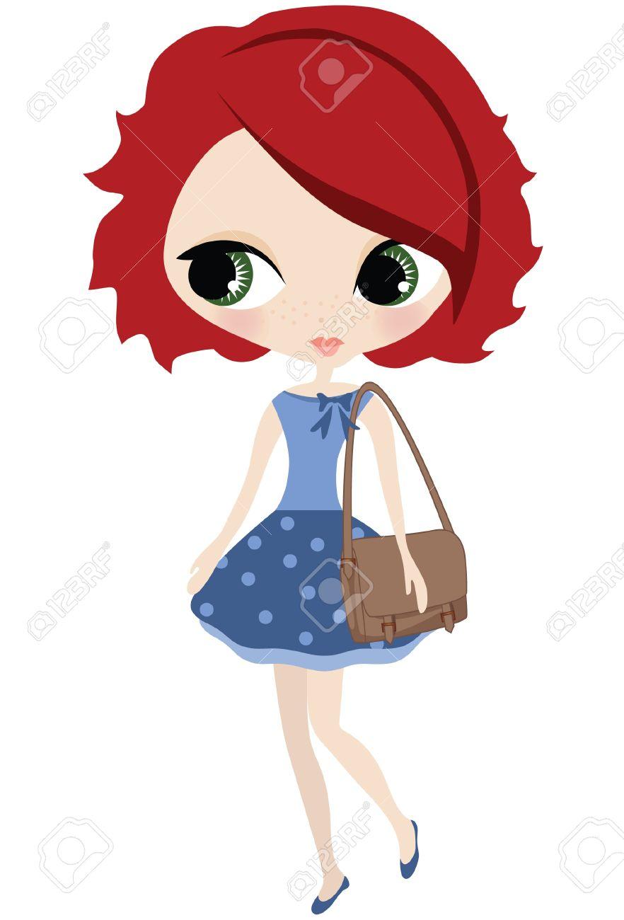 Little redhead birthday girl clipart.