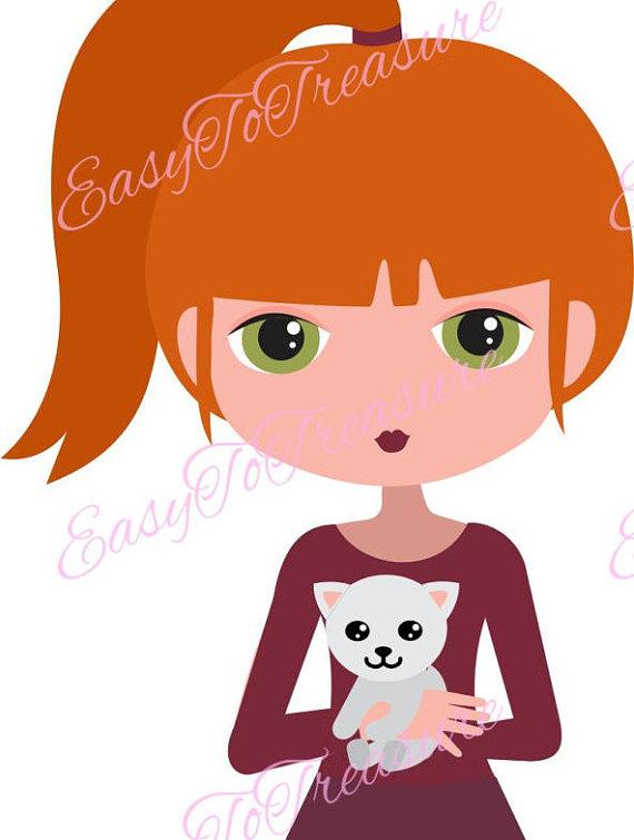 Redhead girl clipart.