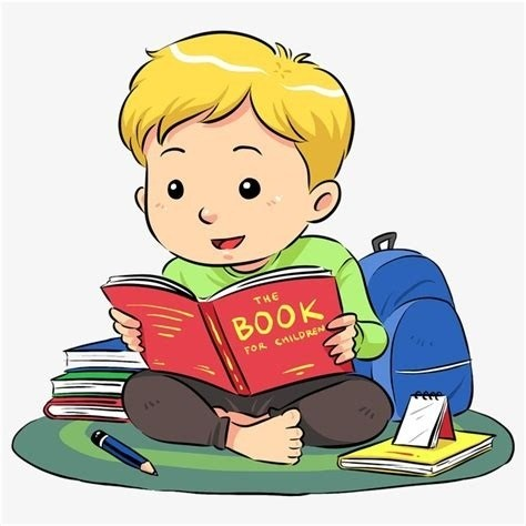 Cartoon Boy Reading Clipart, Reading Book Cartoon.