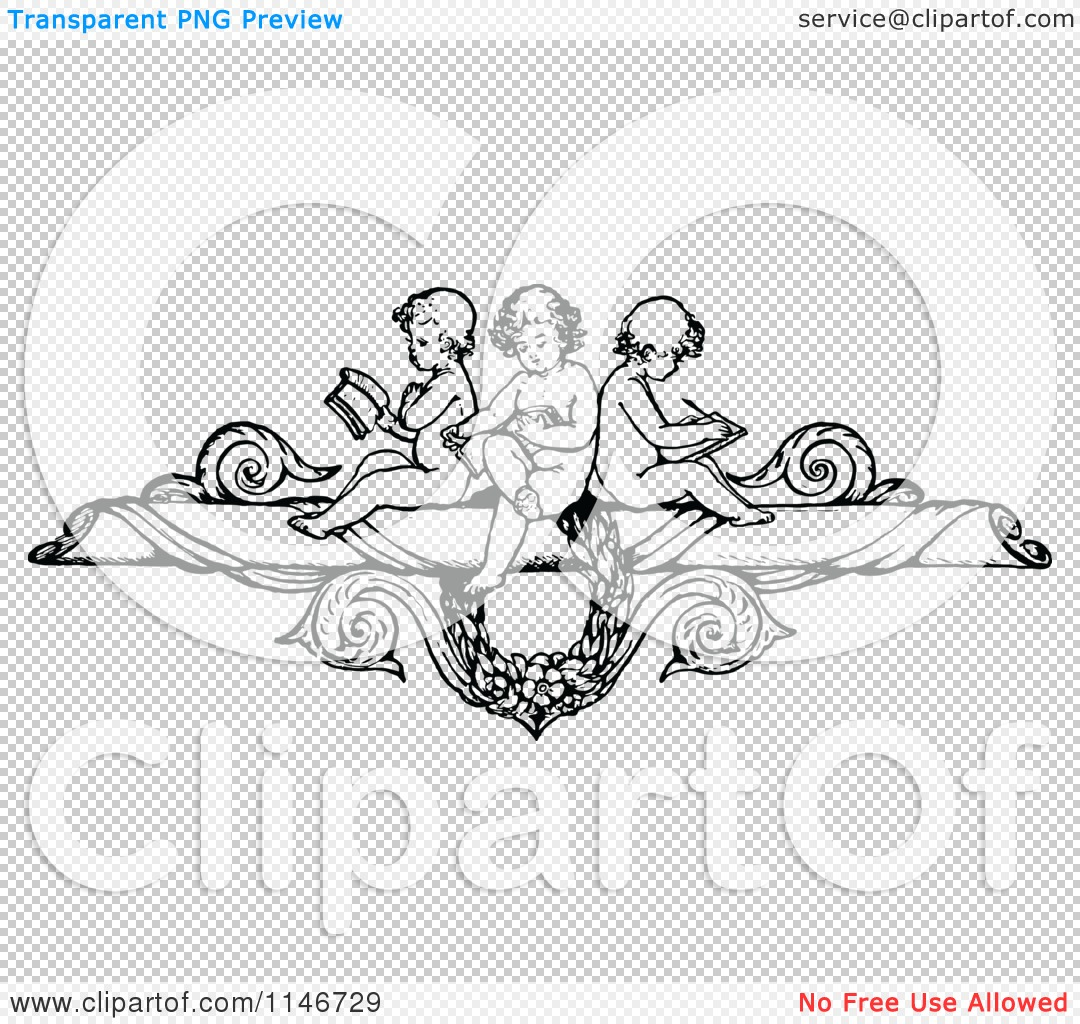 Clipart of a Retro Vintage Black and White Border of Cherubs.
