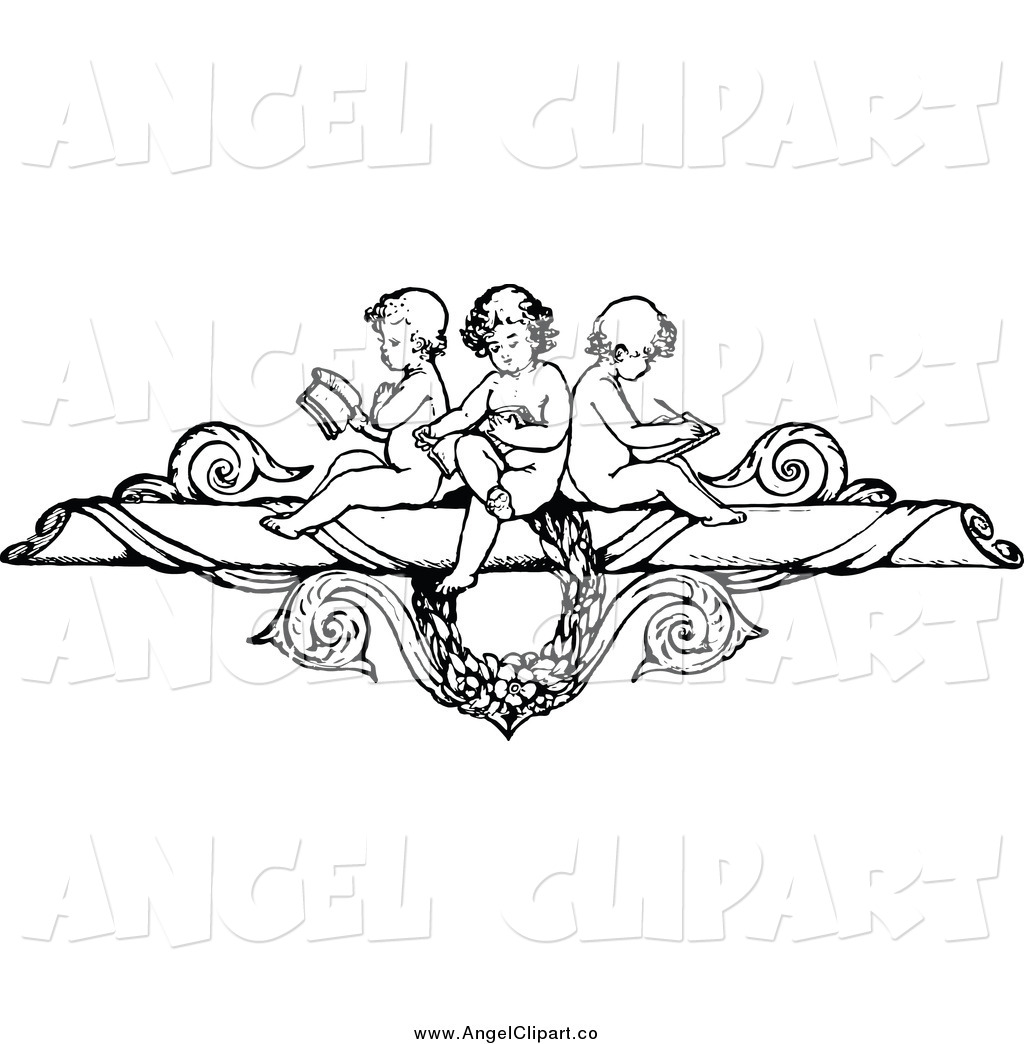Clip Art of a Black and White Border of Cherubs Reading and.