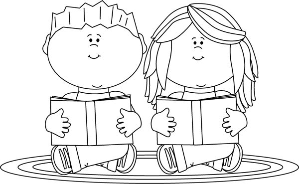 Clipart Kids Reading Black And White.