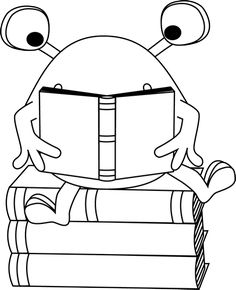 Reading a Book Clip Art Image.