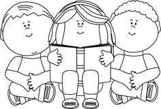 Children Reading Clip Art Black And White.