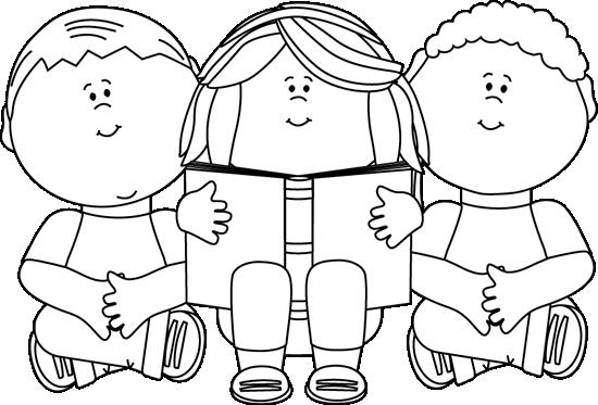 Black and White Kids Reading Clip Art.