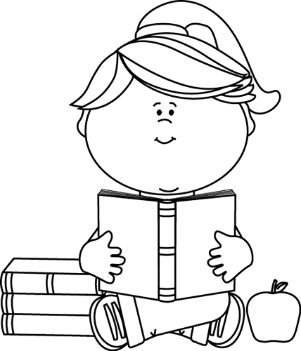 Black and White Little Girl Reading a School Book Clip Art.