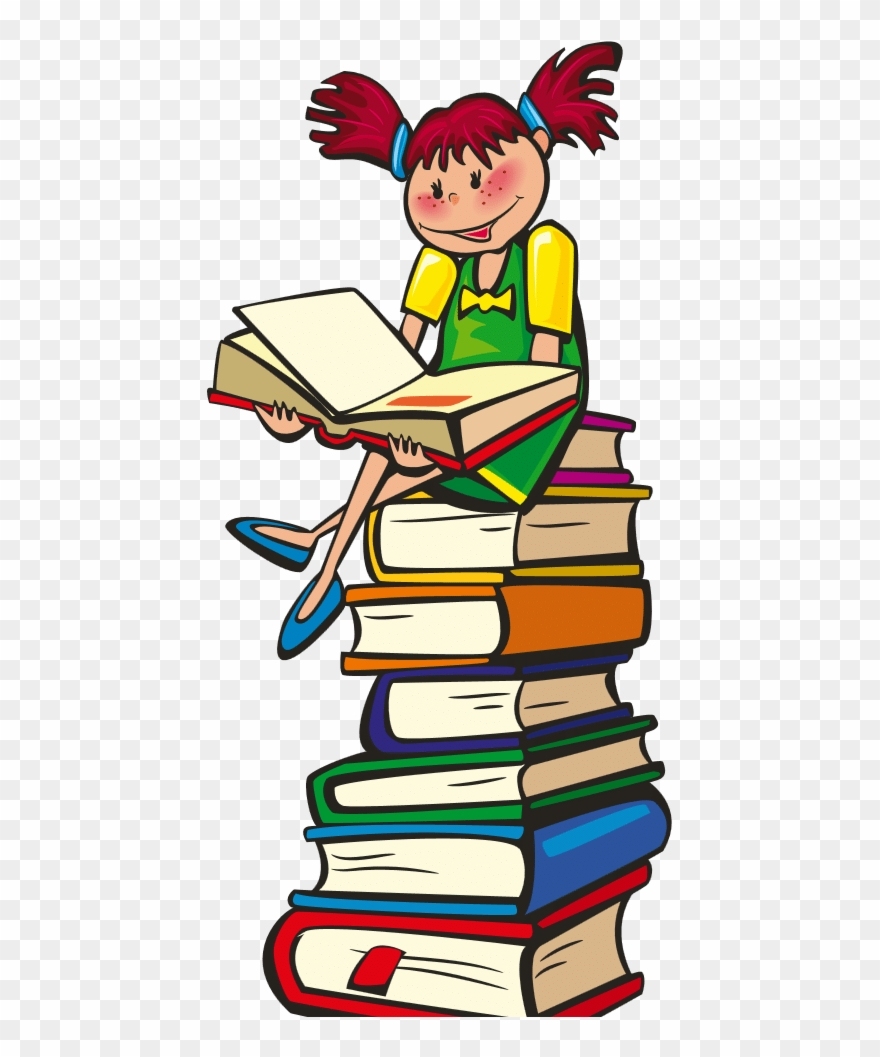 Drawing Of Child Sitting On Stack Of Books.