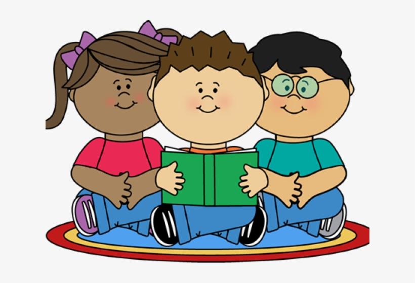 Image Of School Children Reading Clipart.