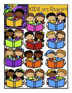 Big Kids Reading and Books Clip Art.