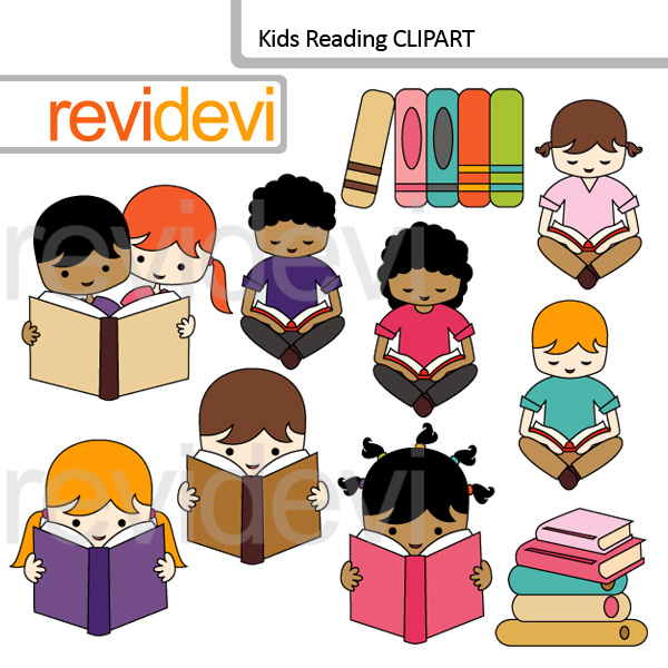 Kids Reading clipart set features multi racial boys and girls.