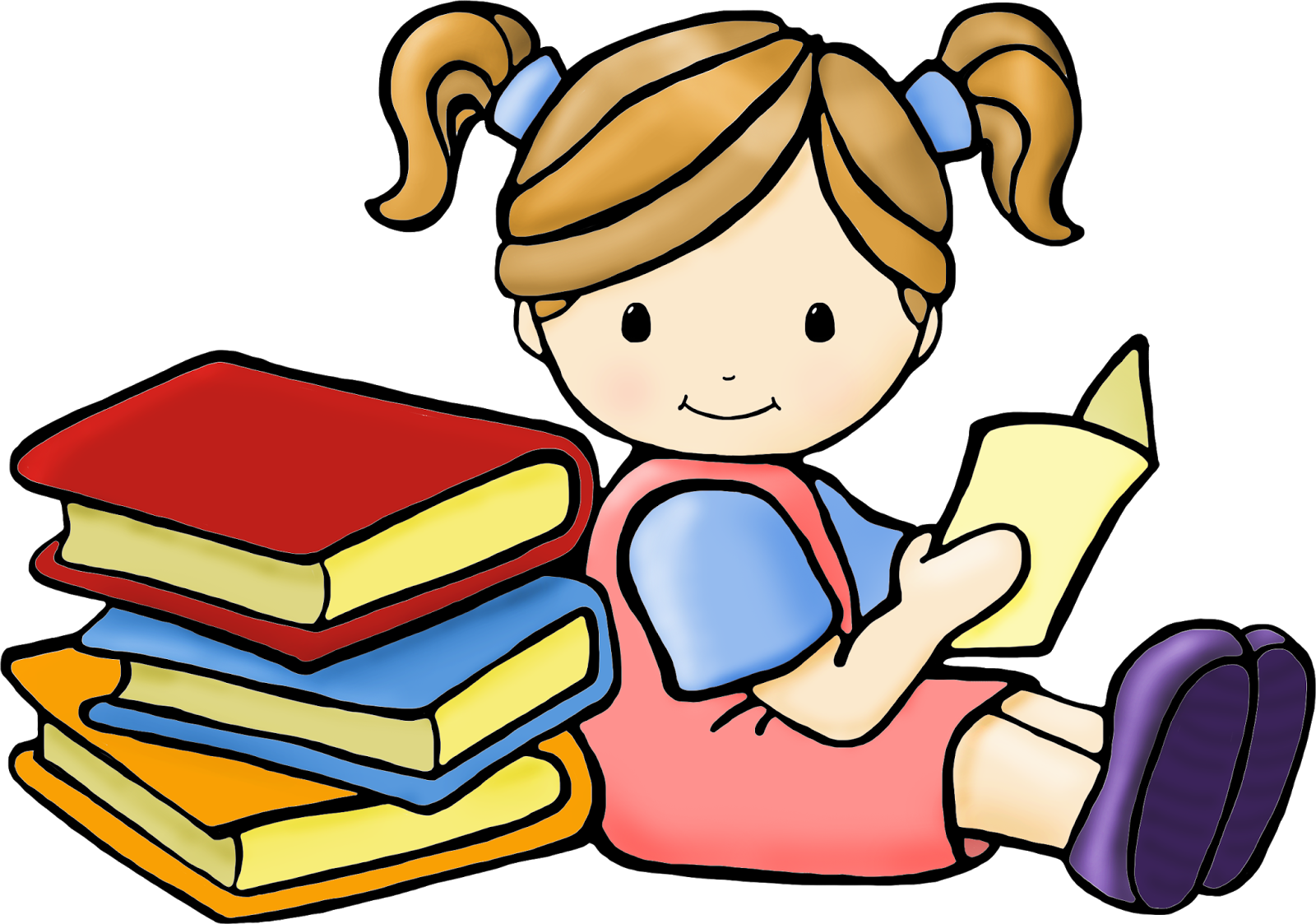 Child Reading Clipart.