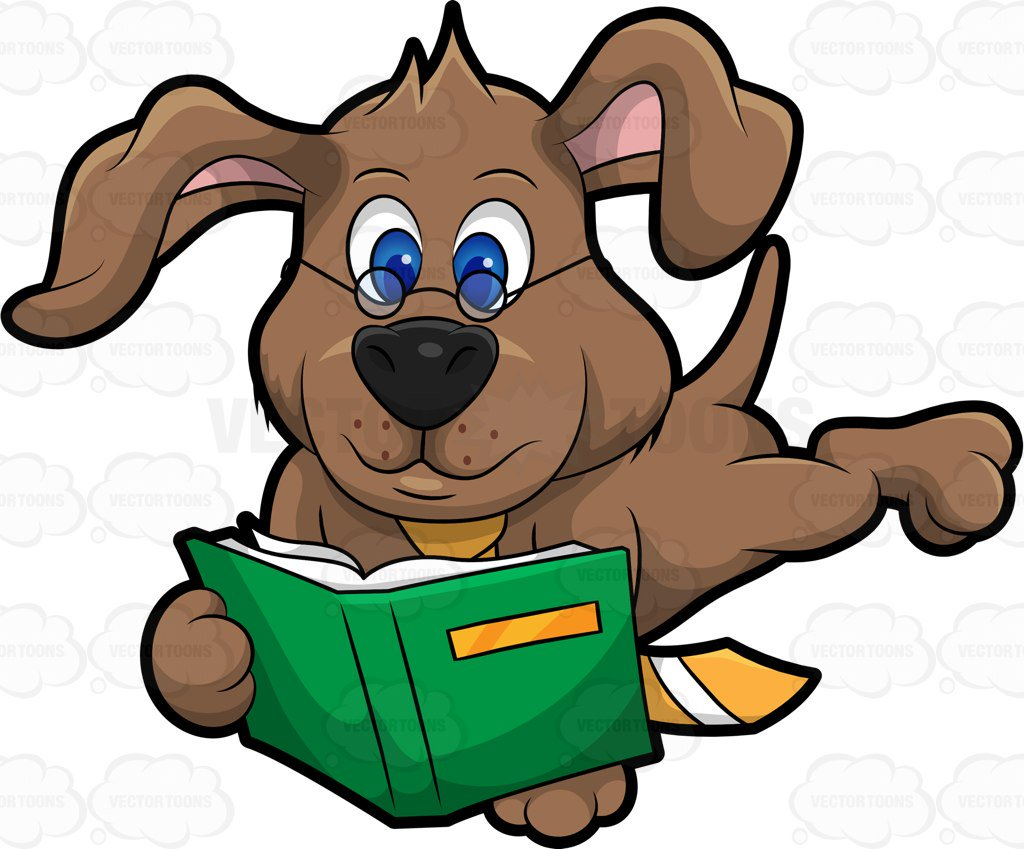 Dog Reading Clipart.