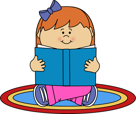 Girl Reading on a Rug Clip Art.