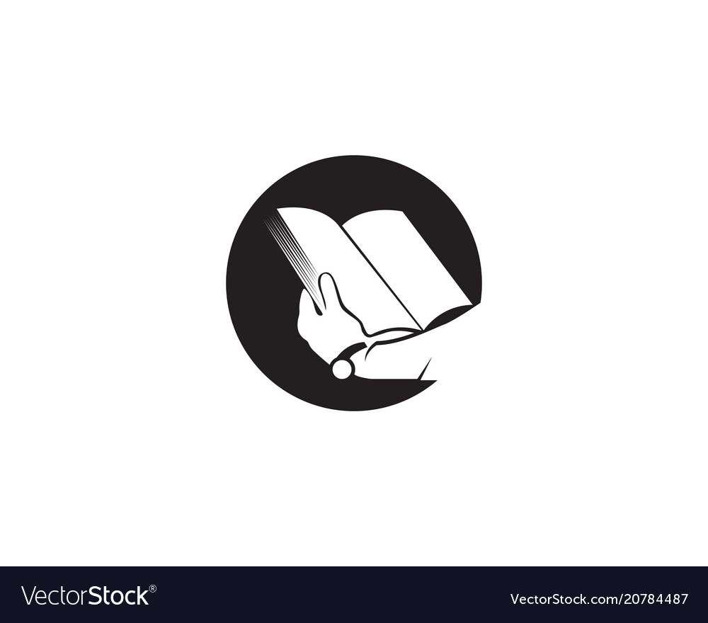 Reading book logo and symbols silhouette black.