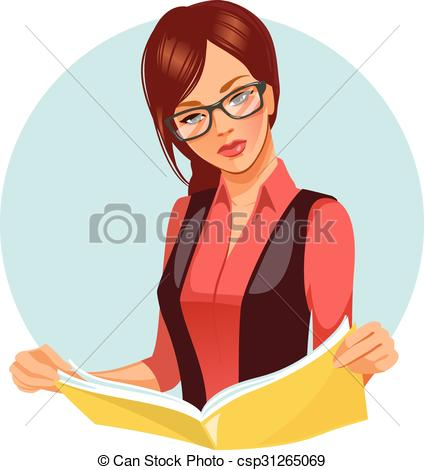 Clip Art Vector of Woman reading magazine..