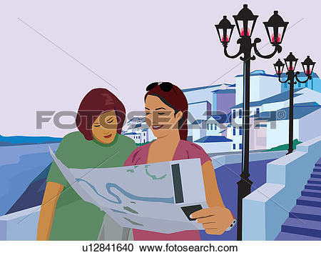 Stock Illustrations of Women reading map and resort in the.
