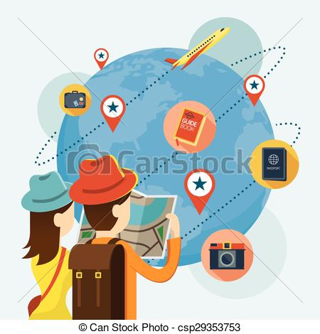 Clipart Vector of Couple Tourist reading Map Plan to Travel.