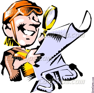 Cartoon cyclist reading map Vector Clip art.