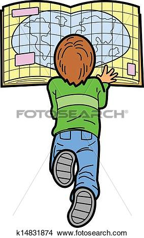 Clipart of Boy Reading Map k14831874.