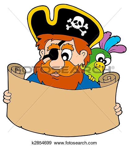 Stock Illustration of Pirate reading treasure map k2854699.