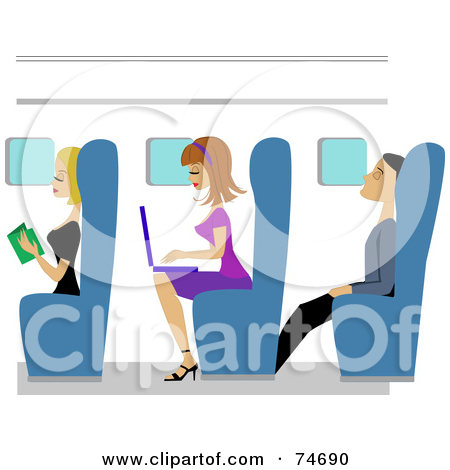 Woman Reading On Plane Clipart.