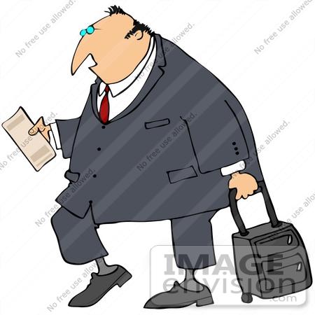 Clip Art Graphic of a Caucasian Businessman Reading His Plane.