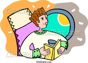 reading a book while flying in a plane Vector Clip art.