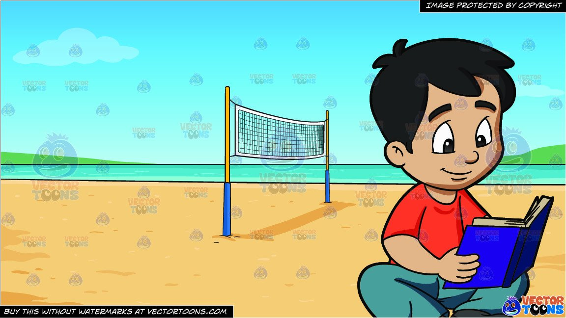 A Boy Reading A Novel and Beach Volleyball Background.