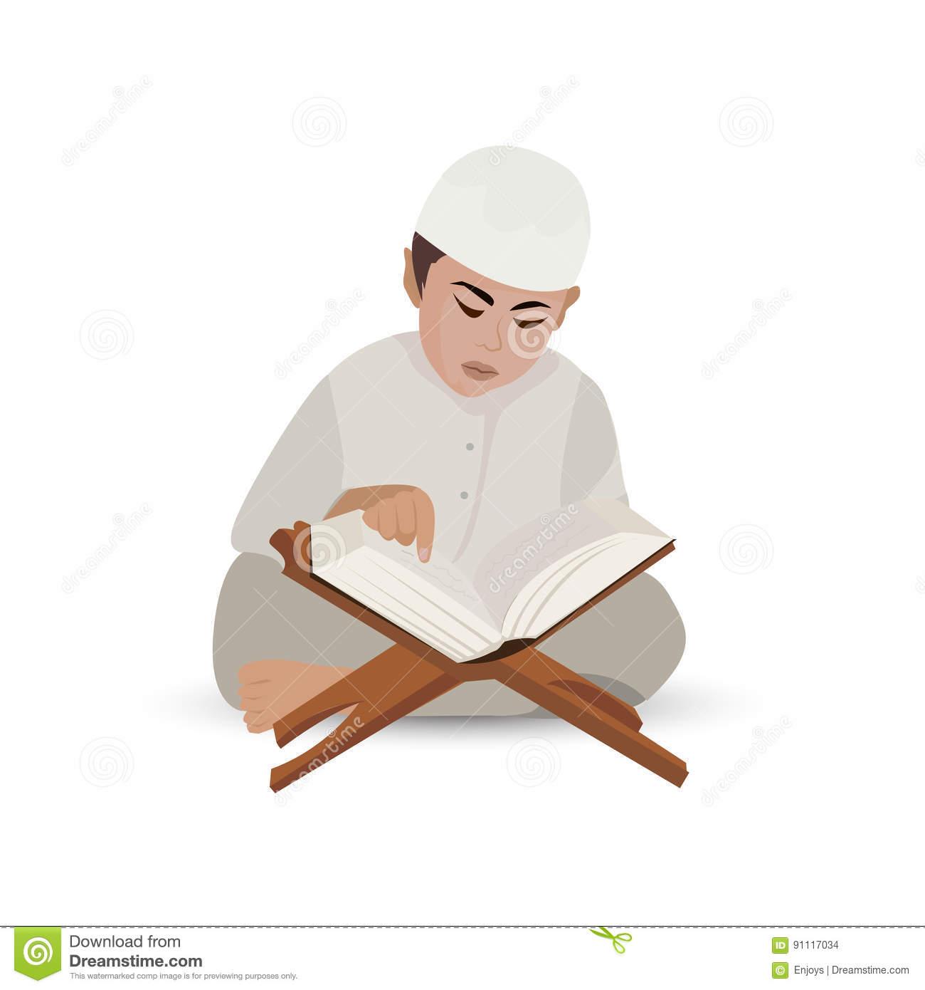 Muslim Reading Quran Clipart.