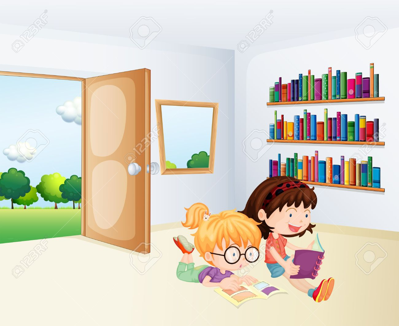 Illustration Of The Two Girls Reading Inside A Room Royalty Free.