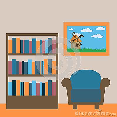 Reading Room Interior Stock Photo.