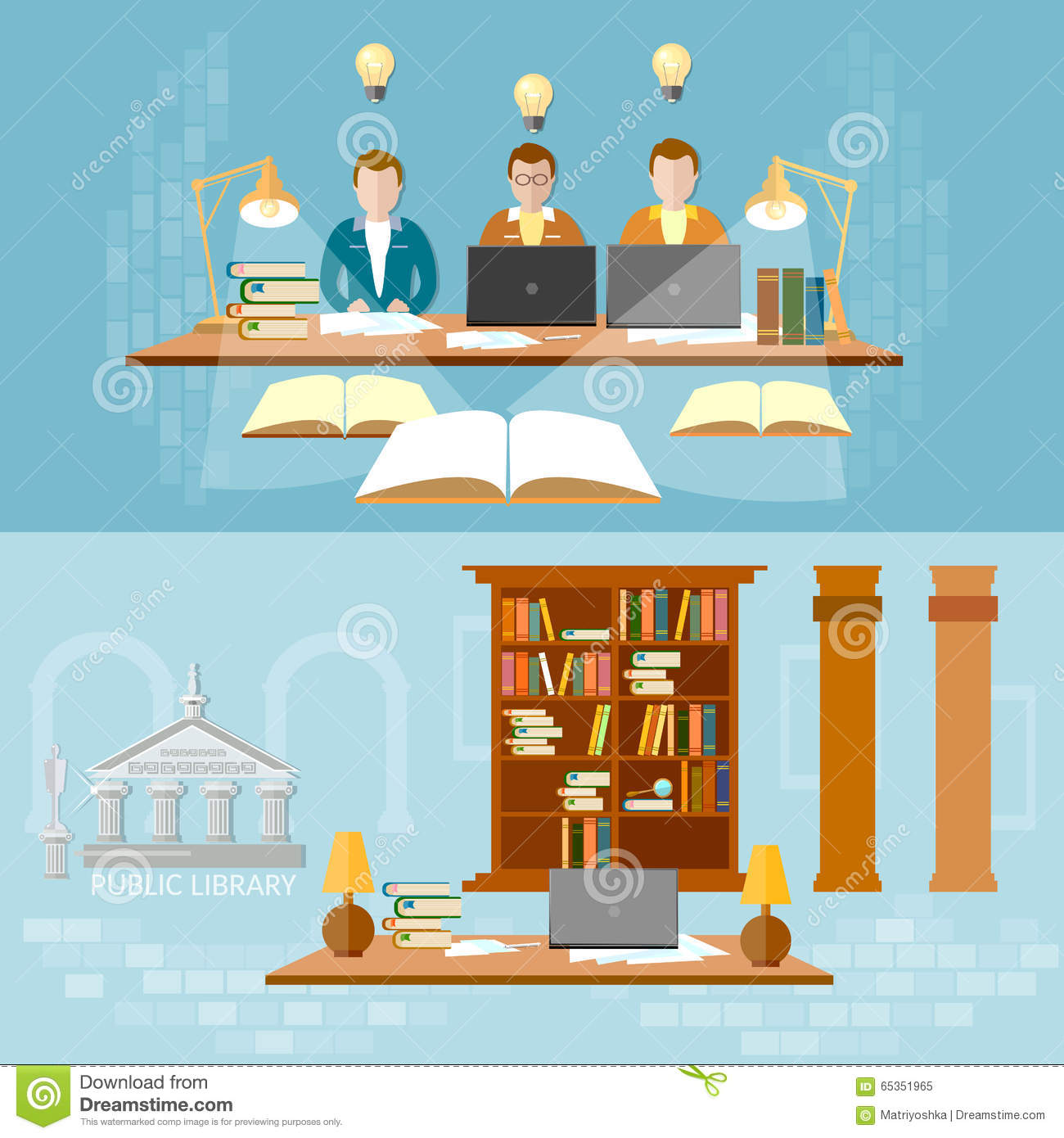 Library Vector Banner Students In The Reading Room Stock Vector.