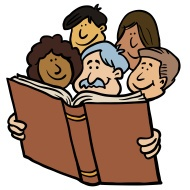 Kids Reading The Bible Clipart.