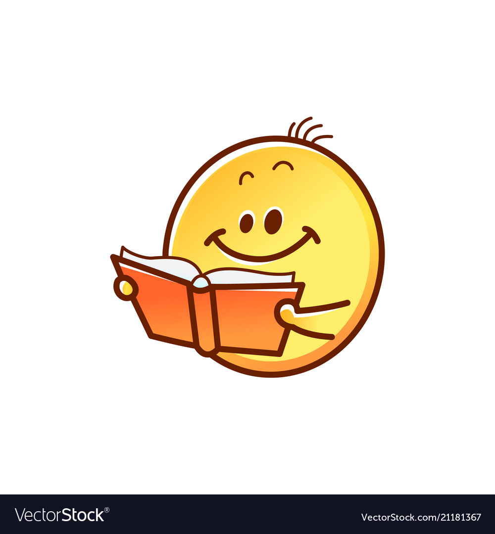 Smiley face reading book.