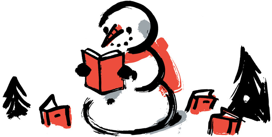 Snowman Reading A Book Clipart.