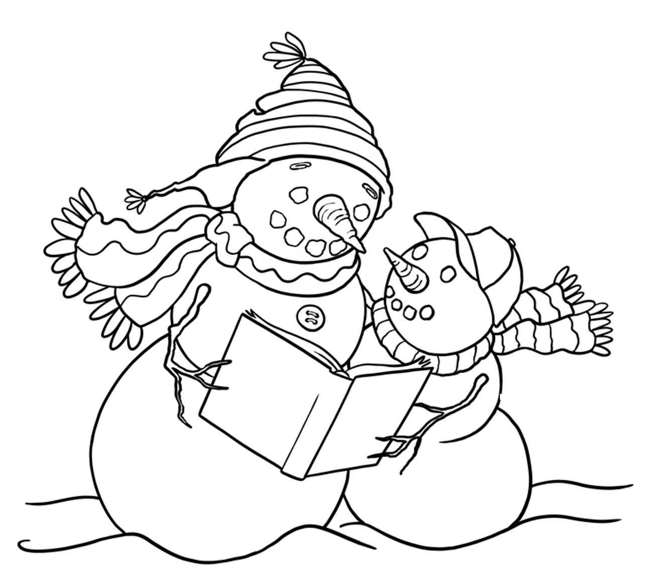 Reading Snowman Clipart.