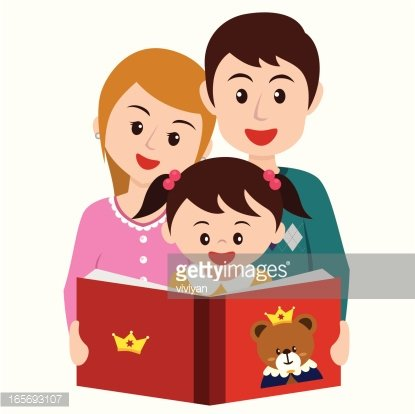 girl reading story book with parents Clipart Image.