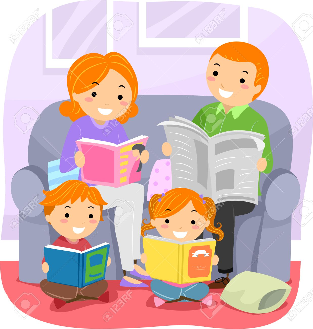 Stickman Family Reading Together » Clipart Station.