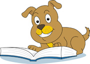 Dog Reading Book Clipart.