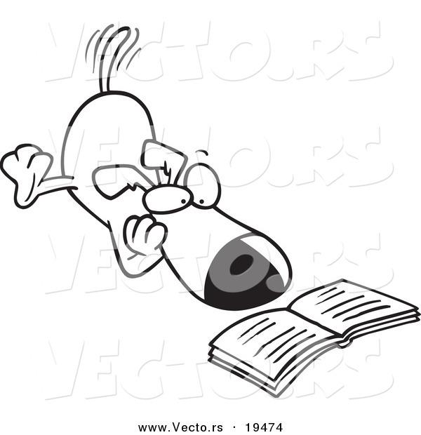 Vector of a Cartoon Reading Dog.