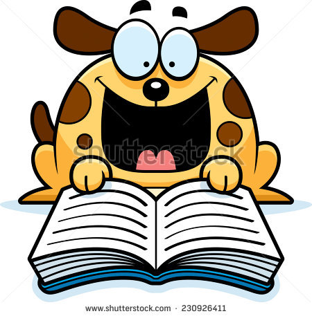 Dog Reading Book Stock Images, Royalty.