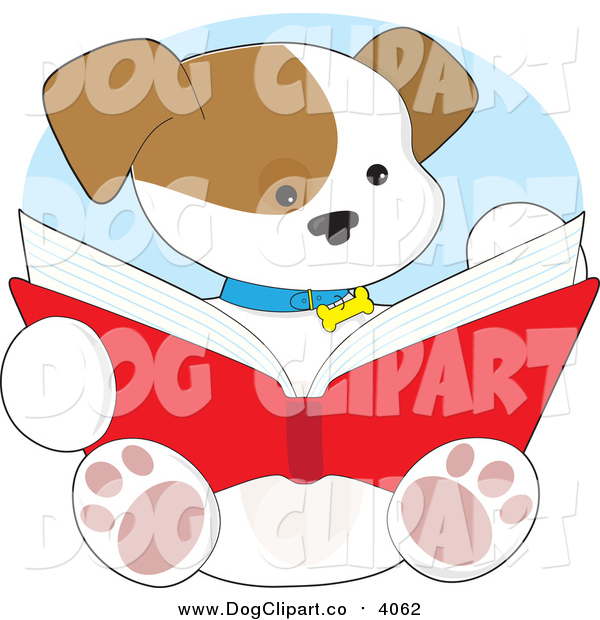 Vector Cartoon Clip Art of a Cute Puppy Dog Reading a Book by.