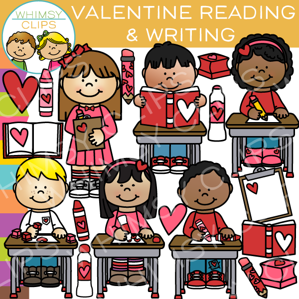Valentine's Day Reading and Writing Clip Art , Images.