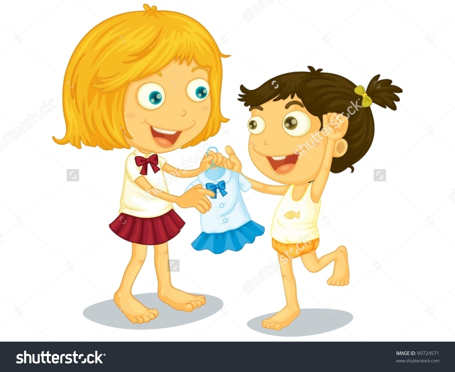 Illustration Sisters Getting Ready School Stock Vector 99724571.