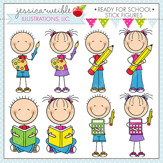 Ready For School Stick Figures Cute Digital Clipart for Commercial.
