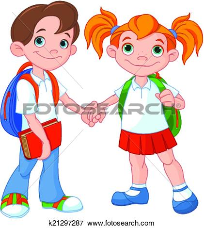 Clip Art of Boy and girl ready to school k21297287.
