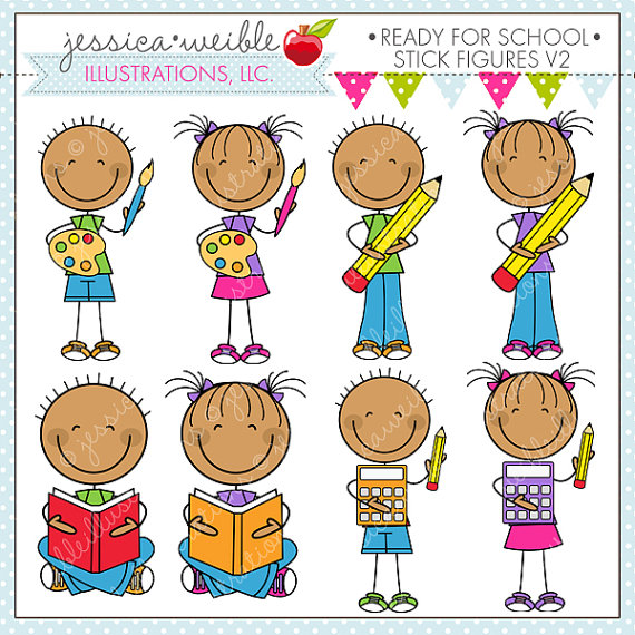 Ready For School Stick Figures V2 Cute Digital Clipart for.