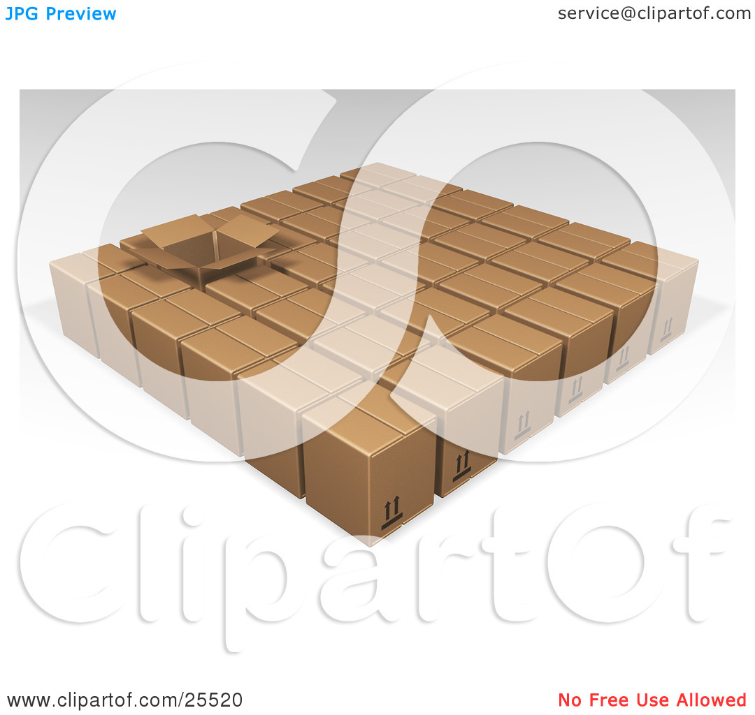 Clipart Illustration of One Opened Box In Rows Of Sealed Brown.